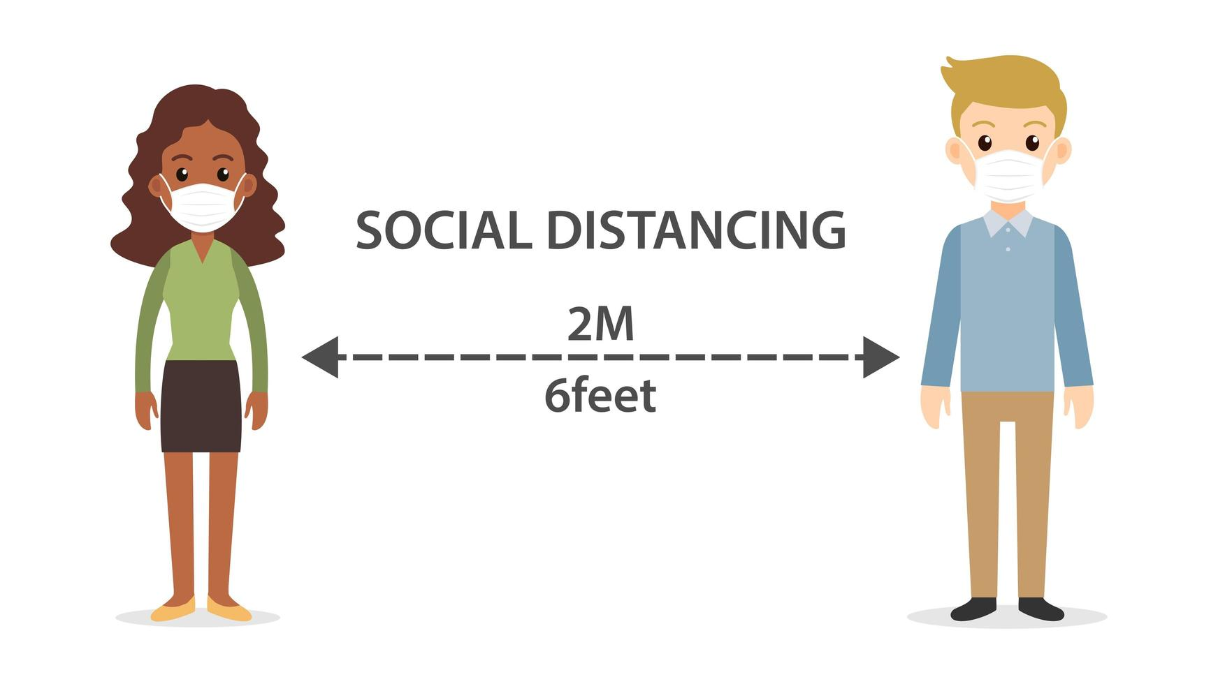 dessin animé distanciation sociale féminine et masculine vecteur