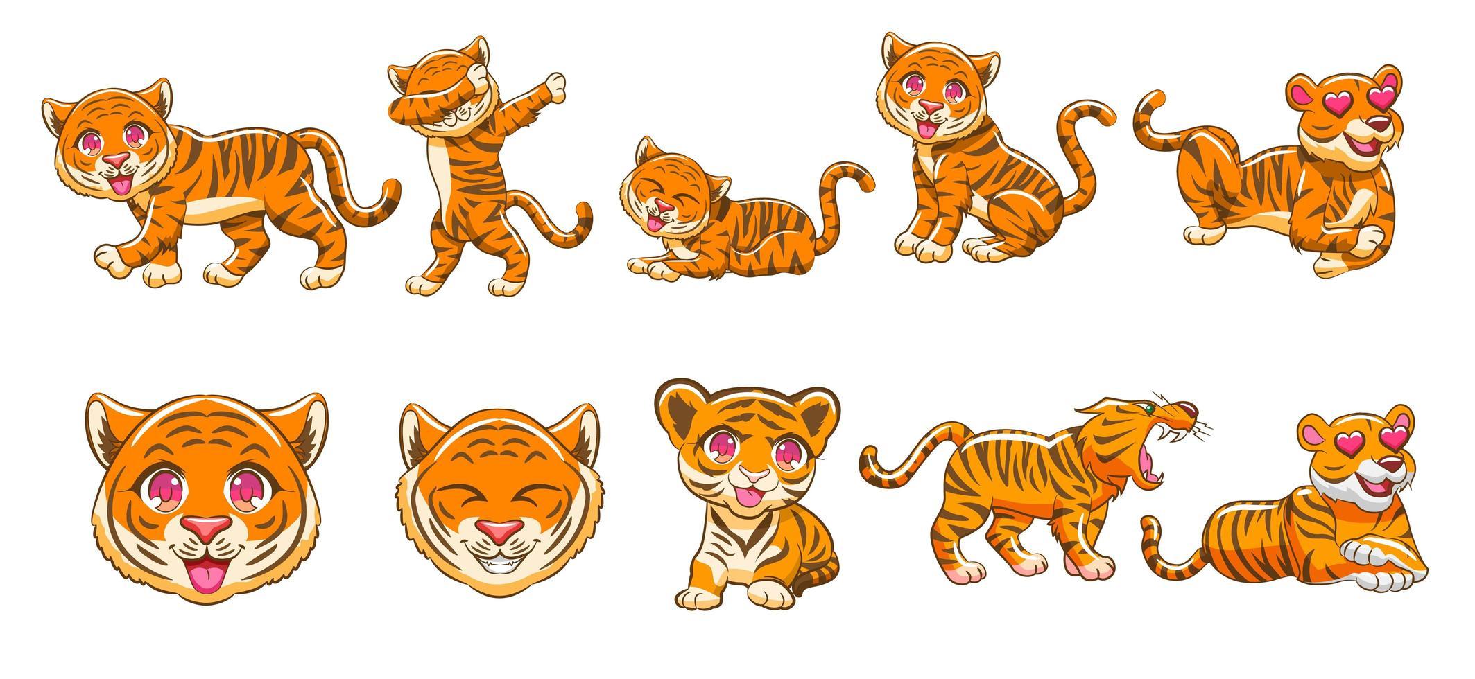 Kawaii Tiger Cartoon Set  vector