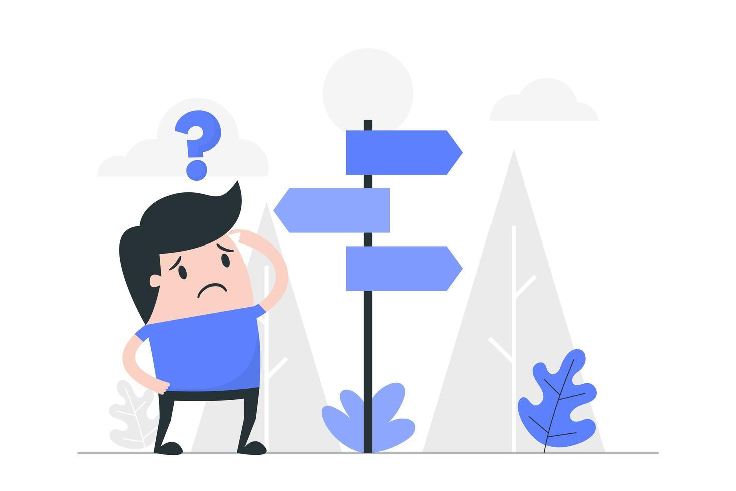 Cartoon Man Confused at Crossroads vector