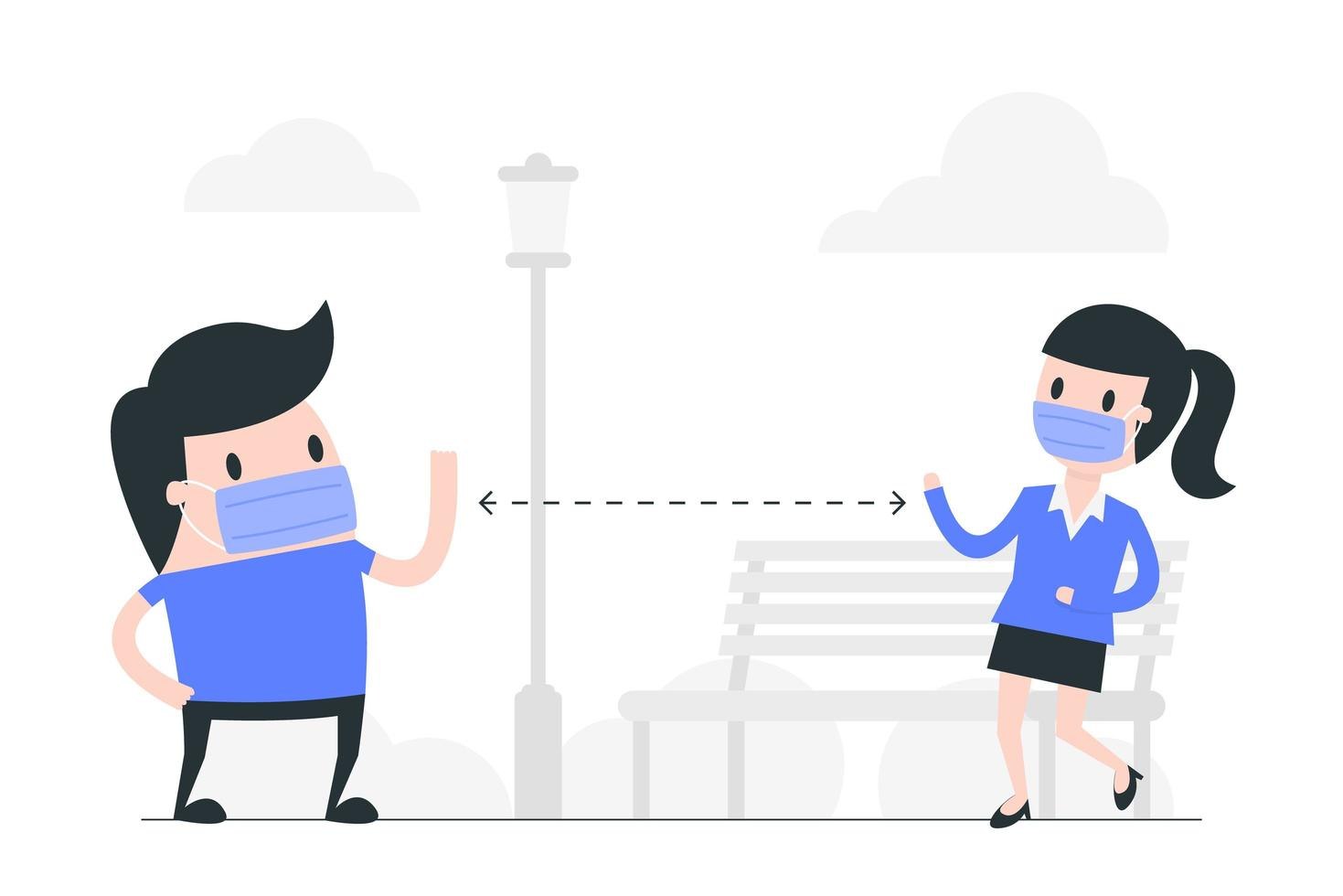 hombre y mujer de dibujos animados de distanciamiento social enmascarado vector