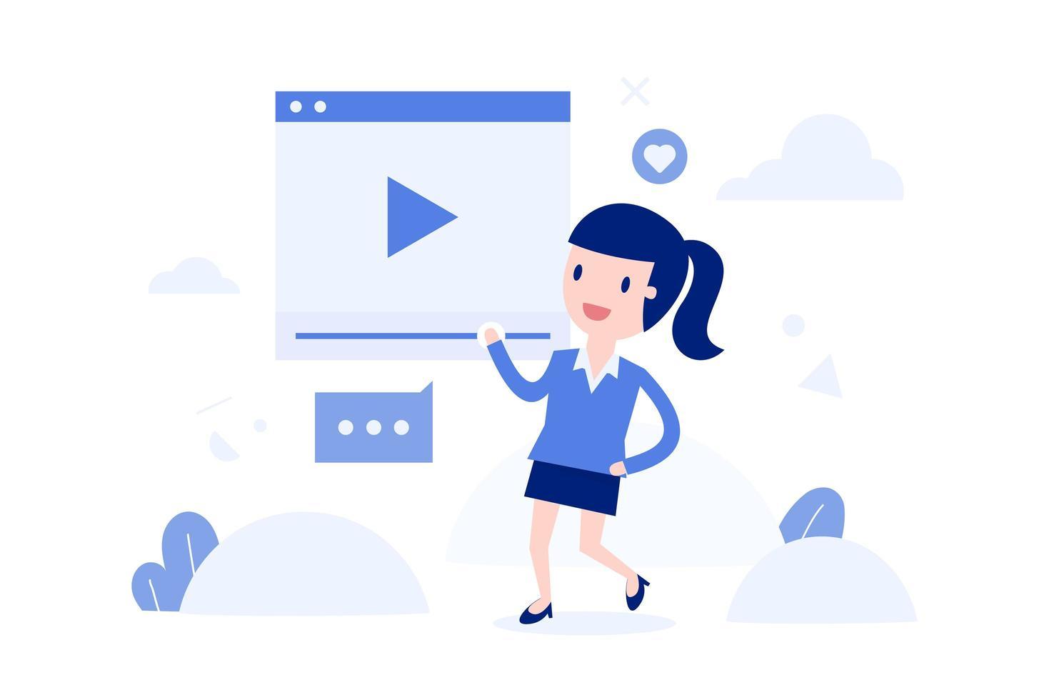donna fumetto streaming video live vettore