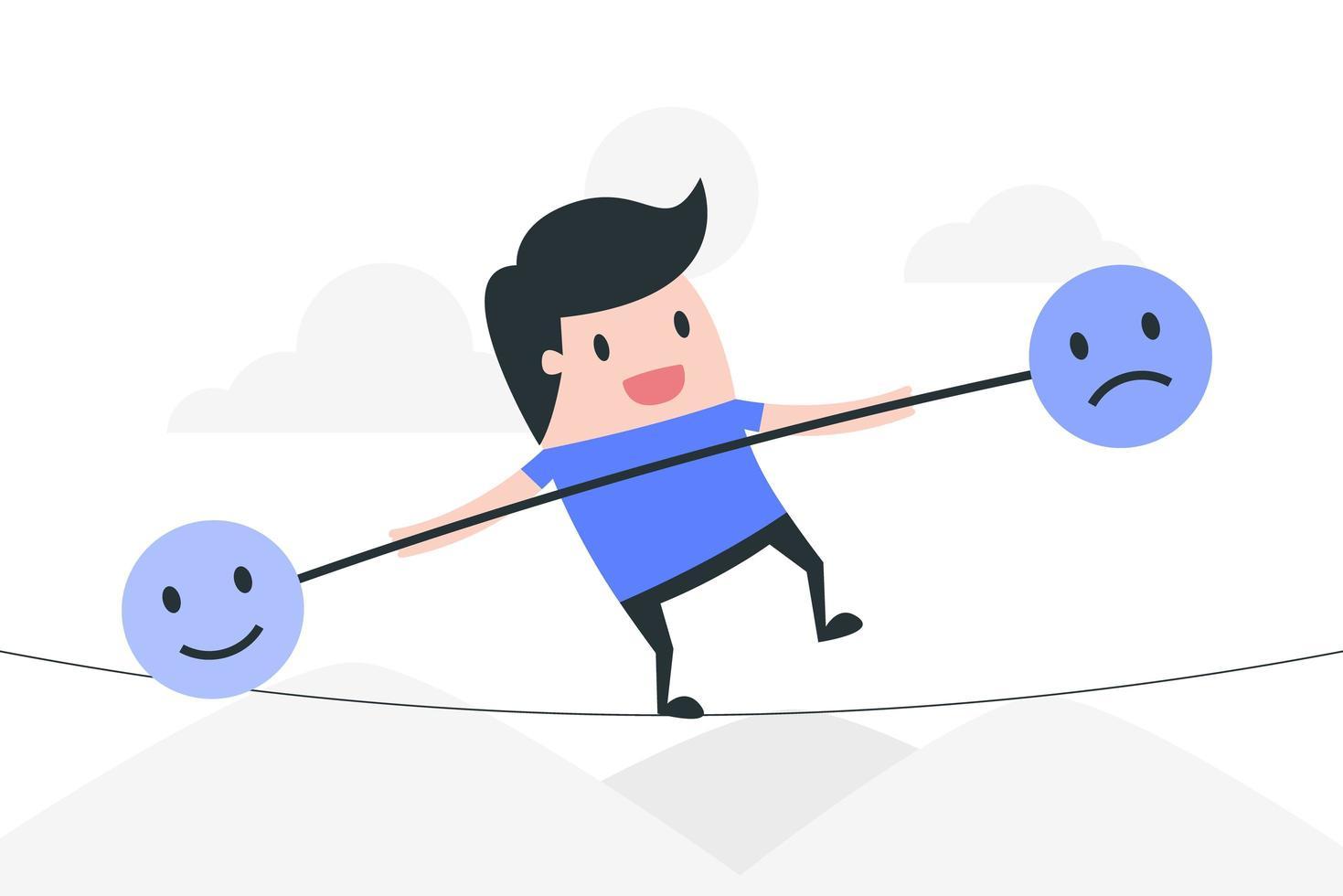 hombre de dibujos animados en cuerda equilibrando emociones vector