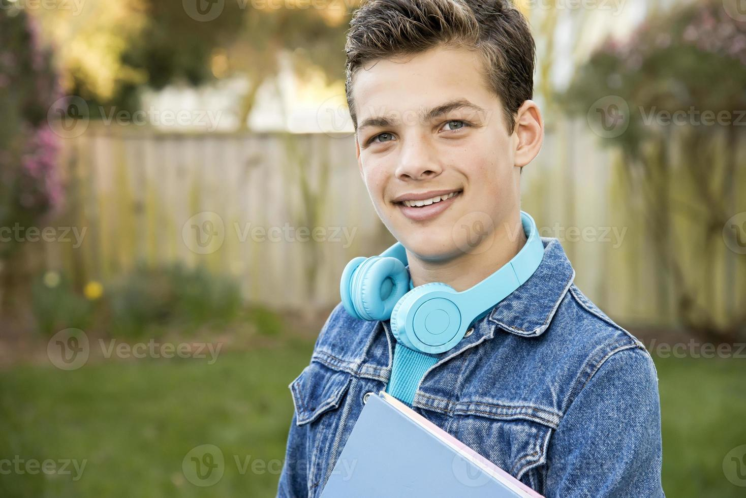 Happy teenage boy photo