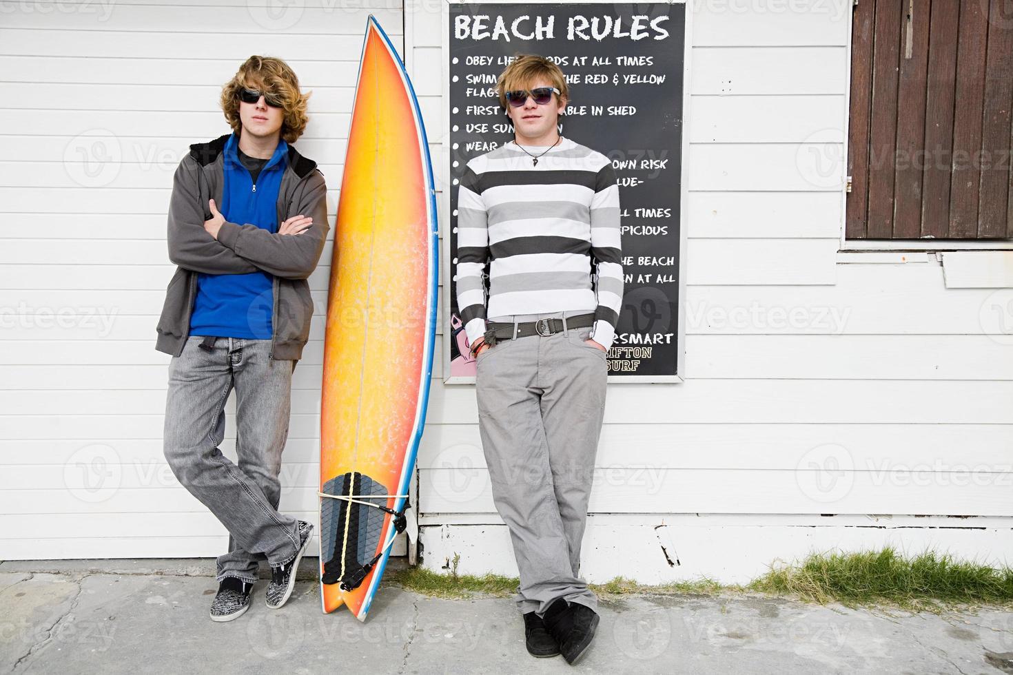 Teenage boys with surfboard photo
