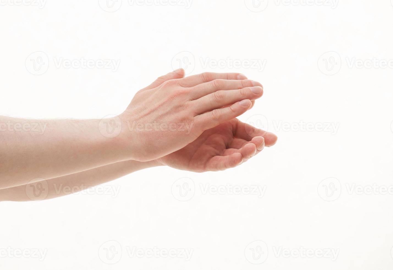 manos masculinas aplaudiendo foto