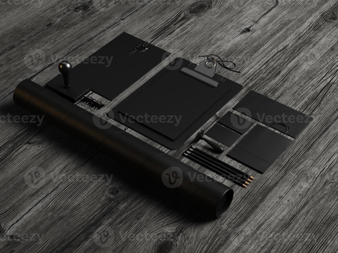 Conjunto de elementos de maqueta negra sobre la madera. Render 3d foto
