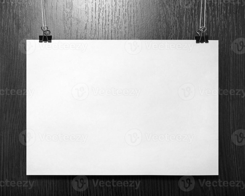 cartel de papel en blanco foto