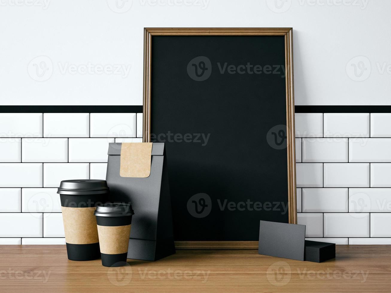 Black poster on table with blank elements. 3d rendering photo