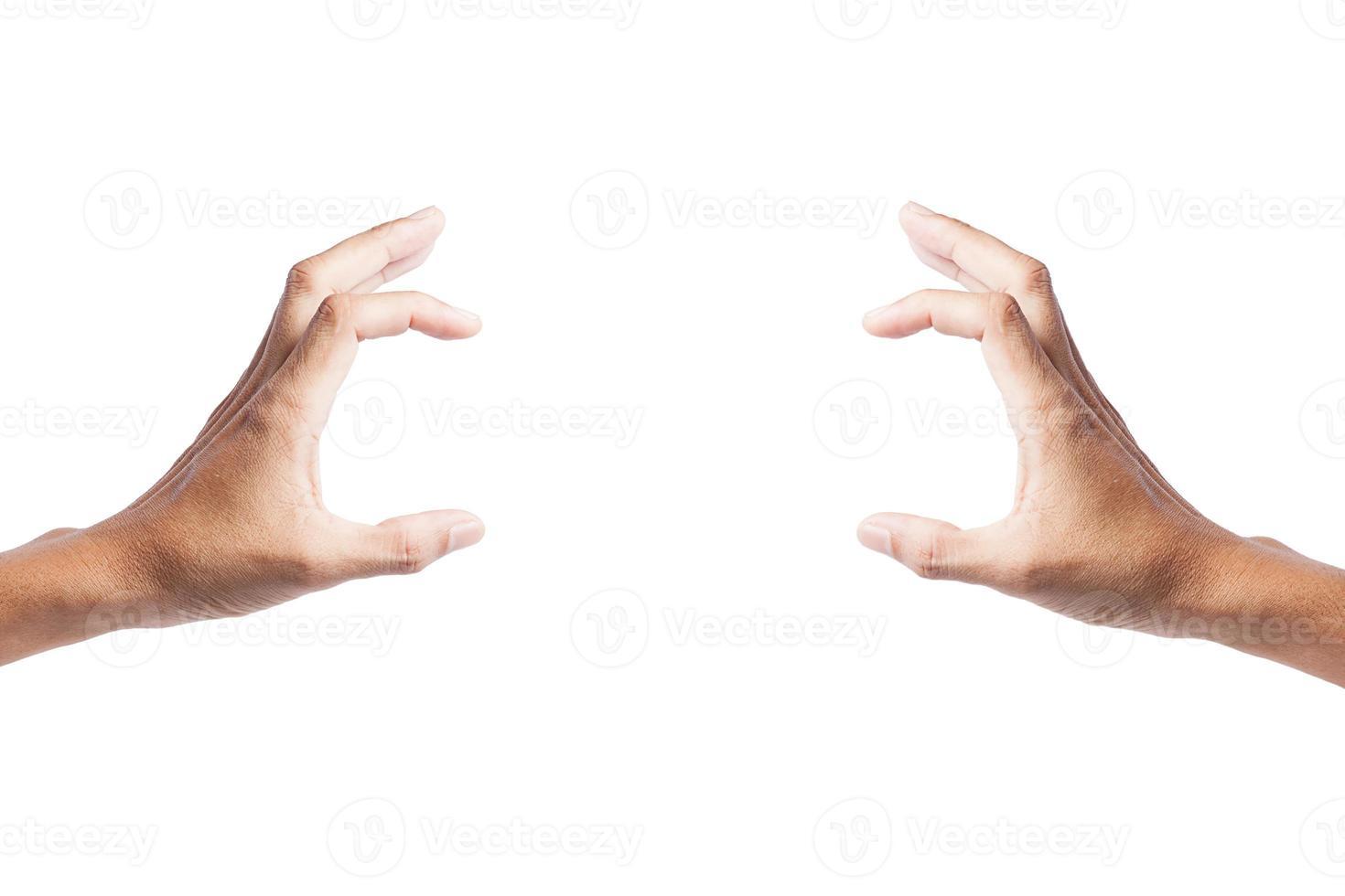 mano masculina aislada sobre fondo blanco foto
