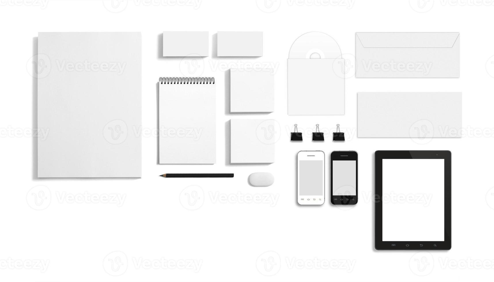 plantilla de identificación corporativa de papelería en blanco foto