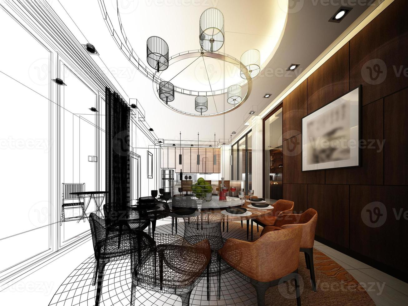 abstract sketch design of interior dining room photo