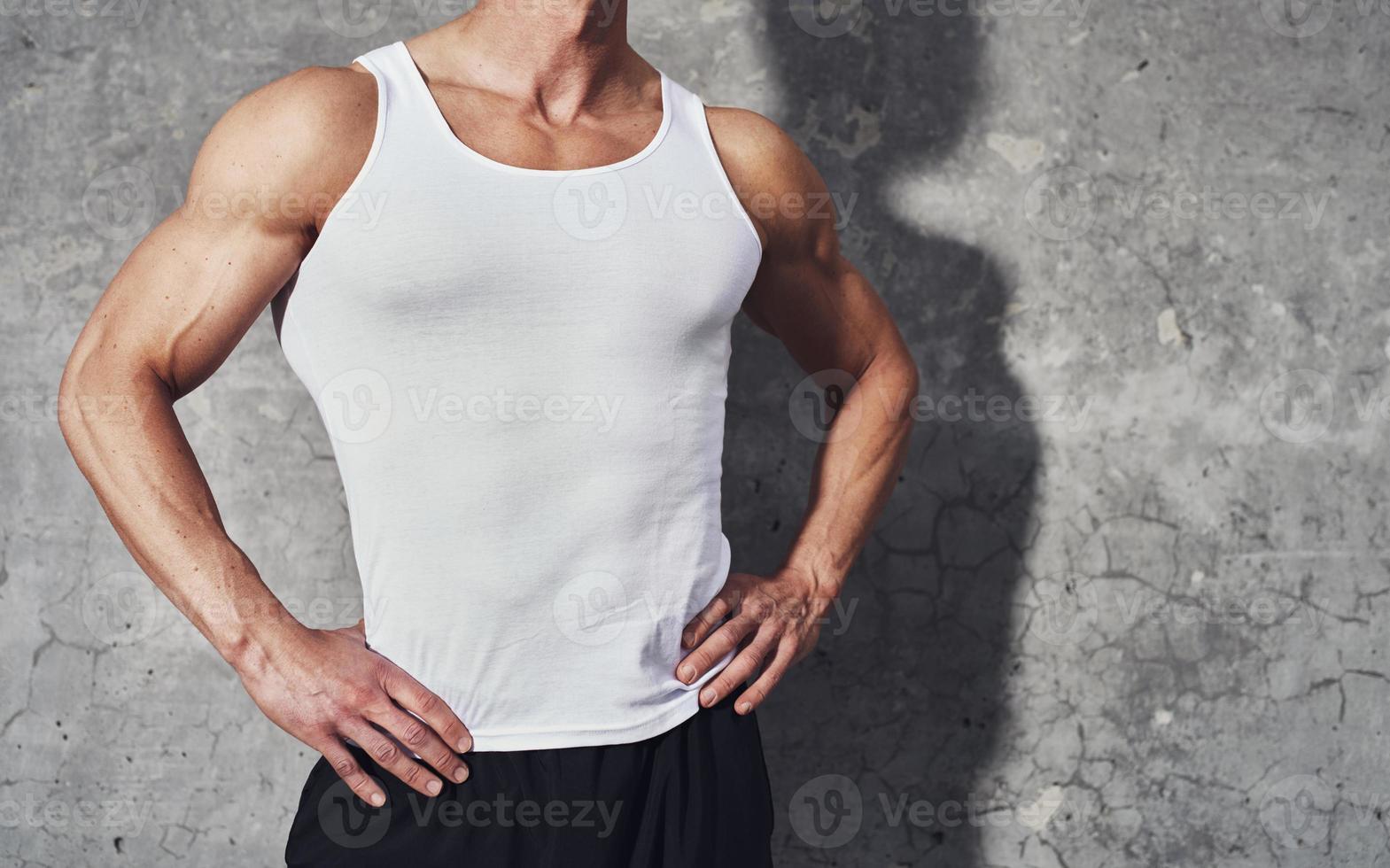 Close up fitness portrait of white man photo