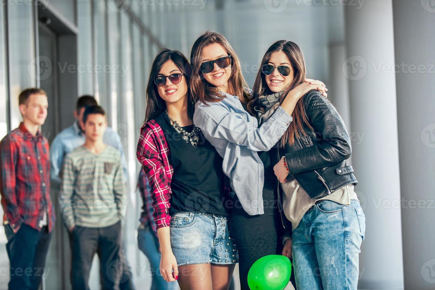 Group of happy teenage friends photo