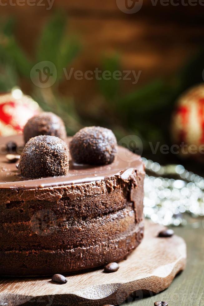 pastel de navidad de chocolate foto