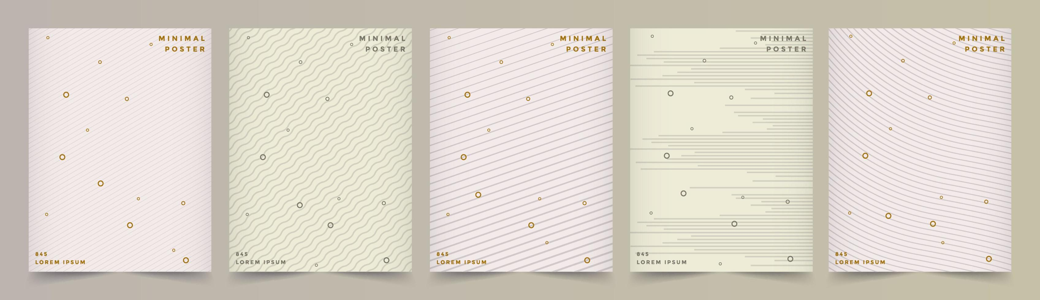 Cover Set with Line Patterns and Pastel Colors vector