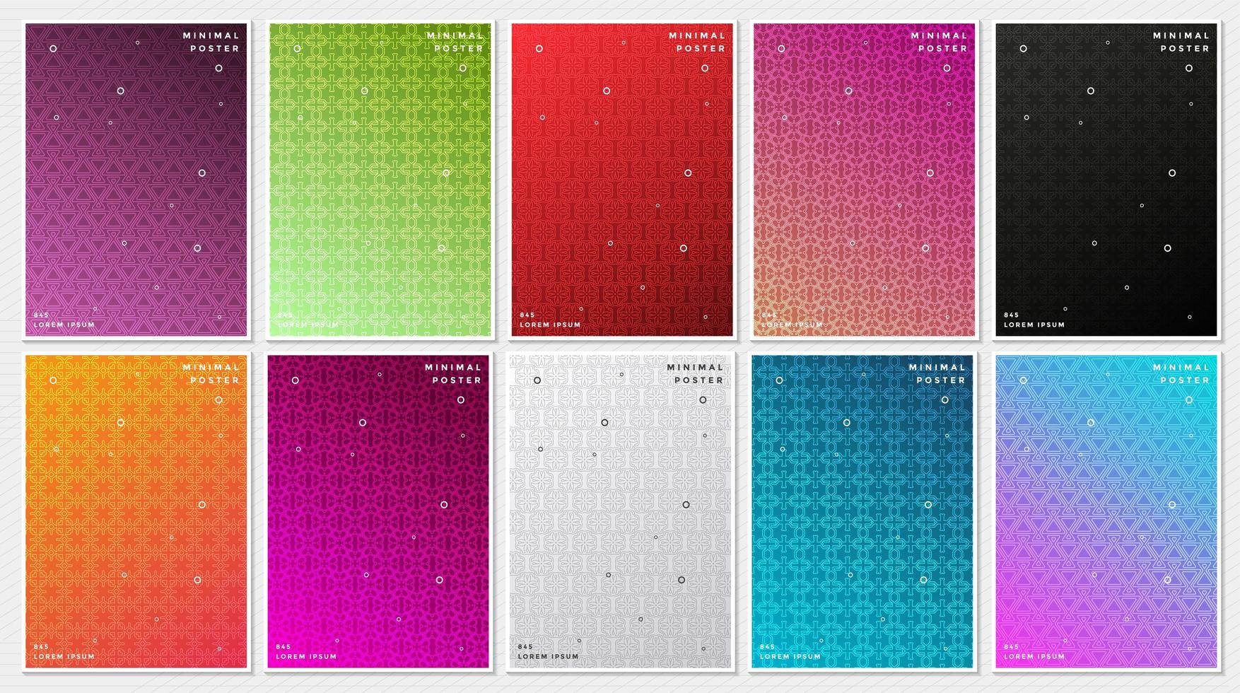 Colorful Pattern Minimal Covers Set vector