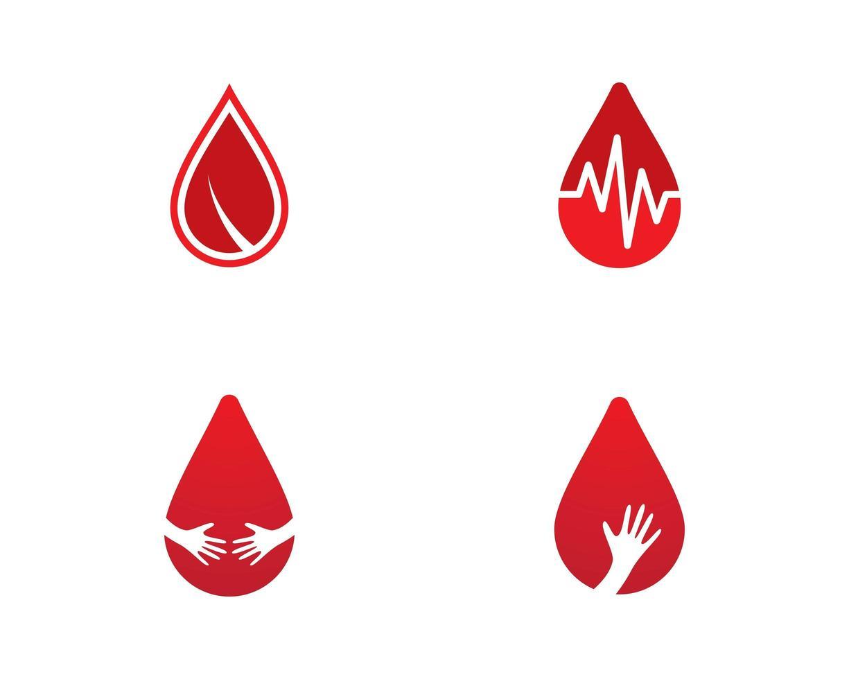 conjunto de logotipo de gota de sangue vetor