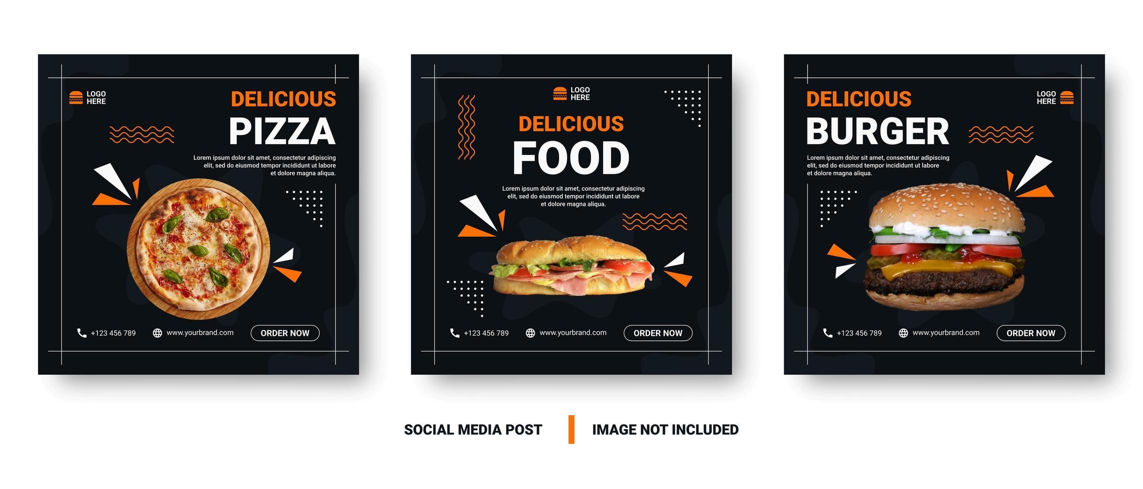 praça memphis estilo comida mídia social post conjunto vetor