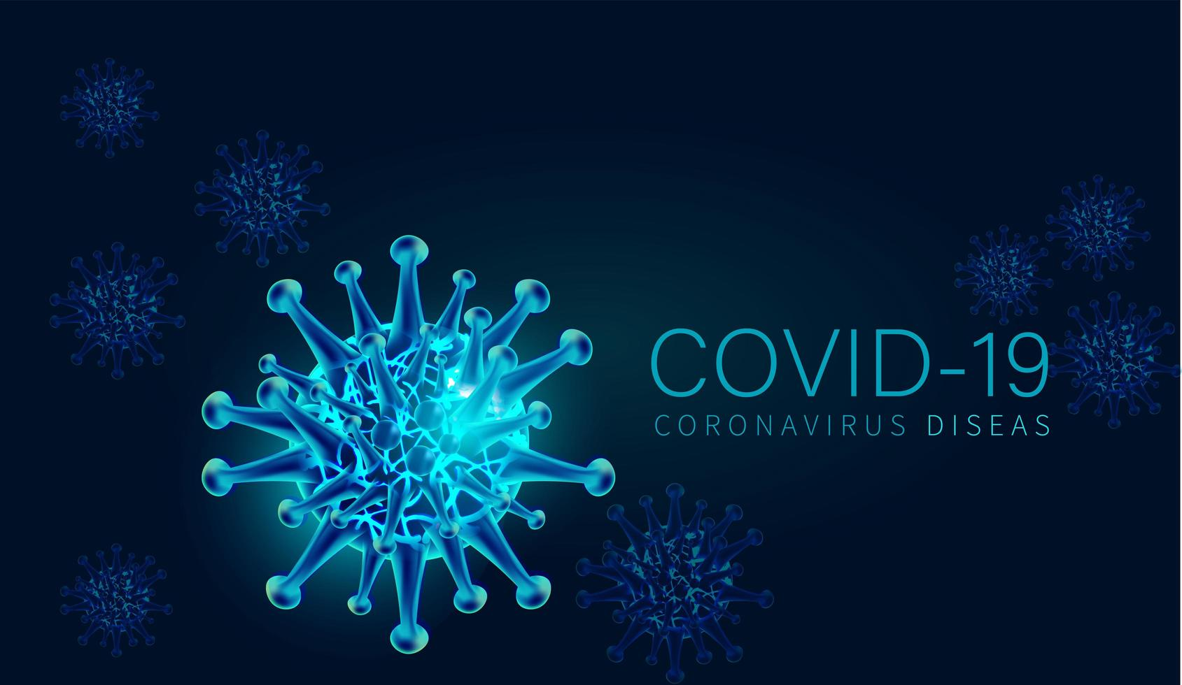 Blue COVID-19 Cell Background vector