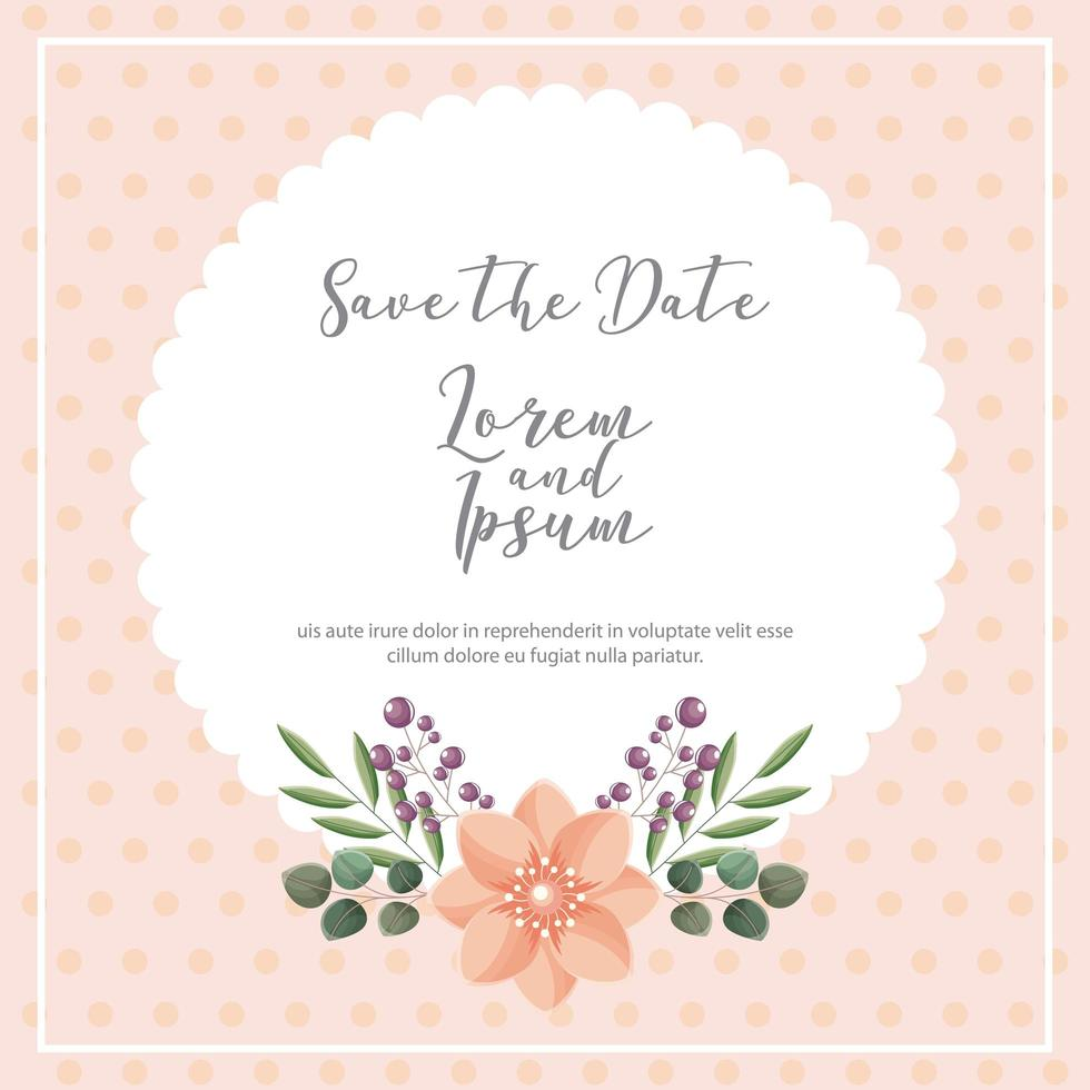 Dotted background save the date card vector