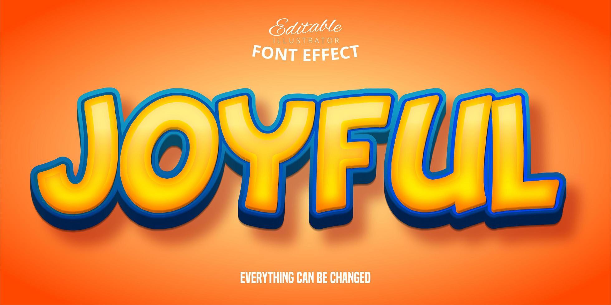 efecto de fuente alegre naranja amarillo vector