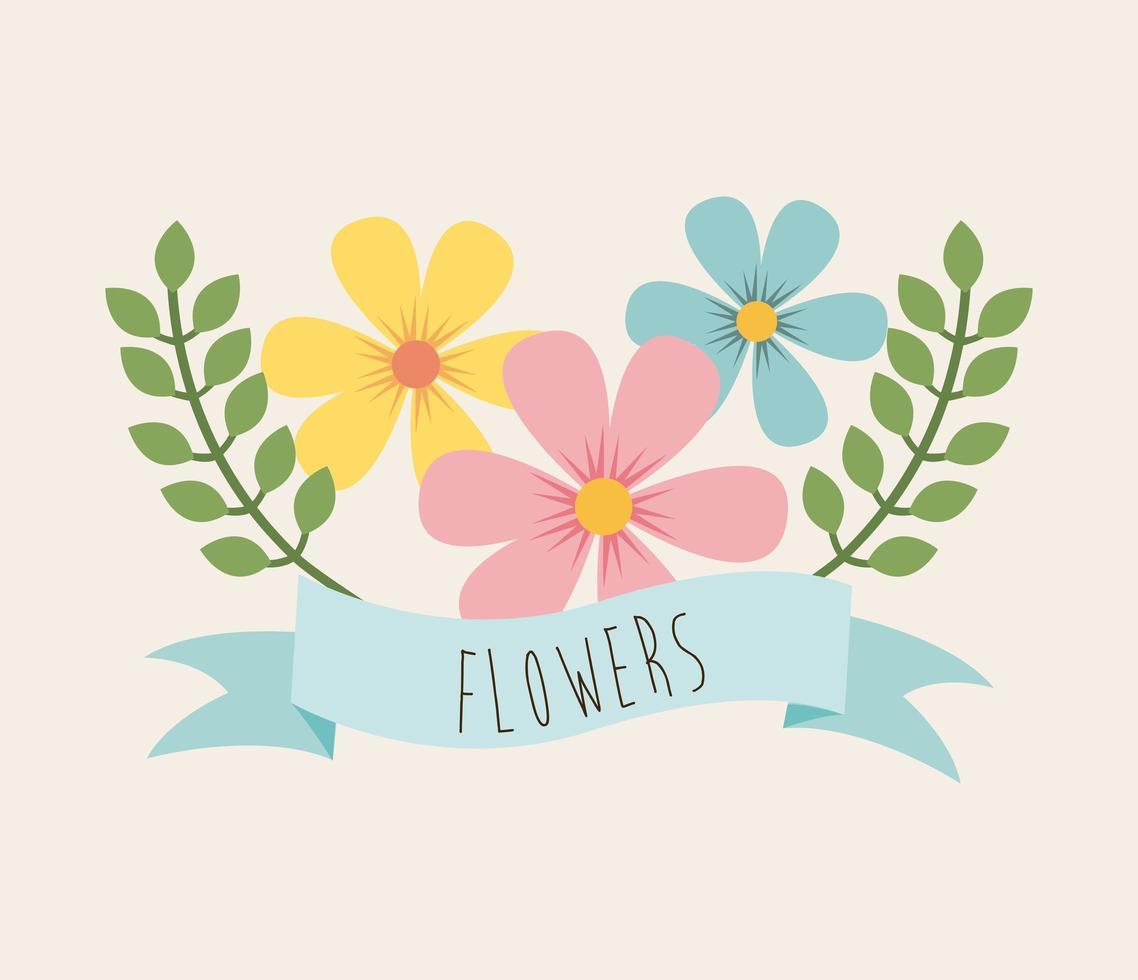 Flower design over beige background  vector