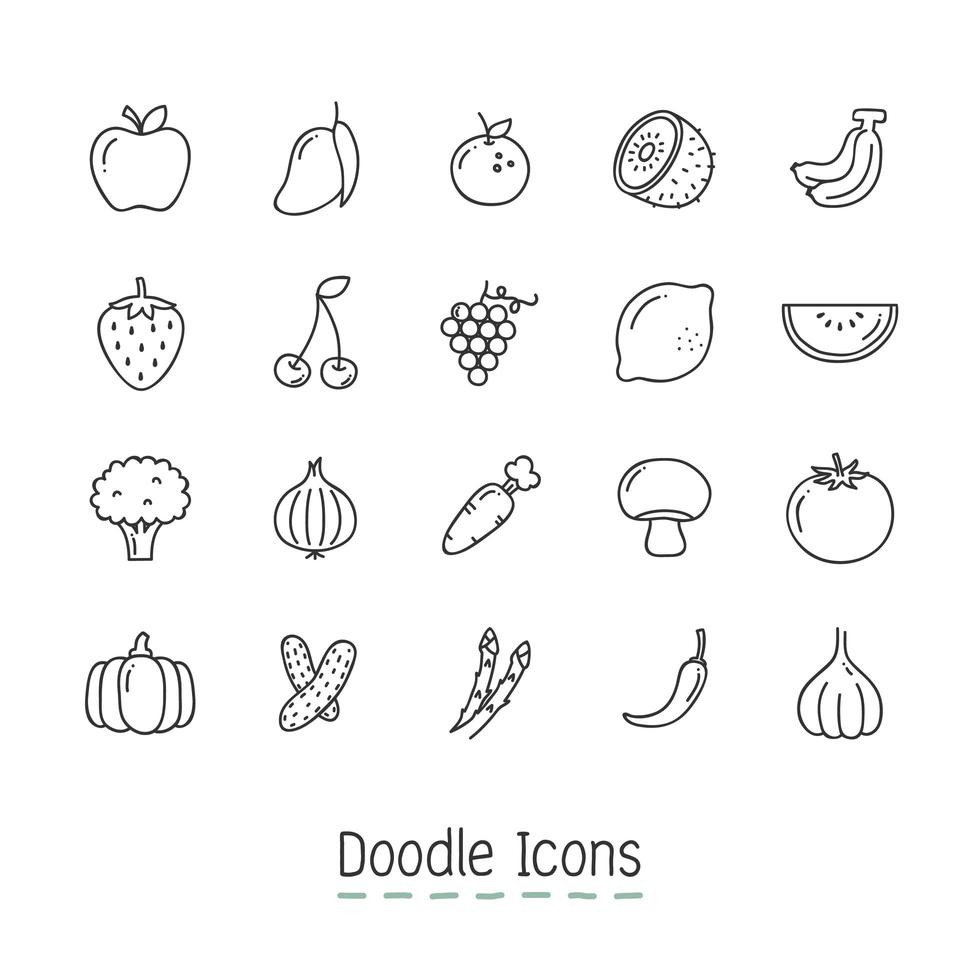 Doodle Fruits And Vegetable Icons Set  vector