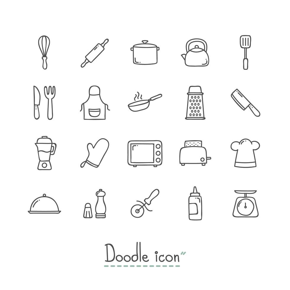Doodle conjunto de ícones de cozinha vetor