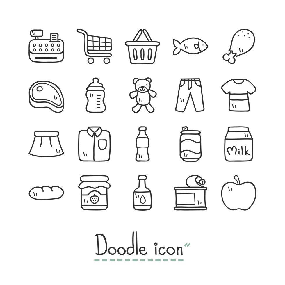 Supermarket Doodle Icon Set  vector