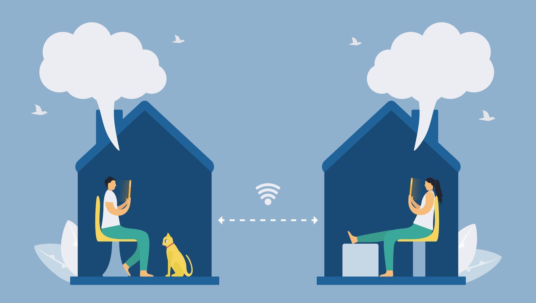 distanciamiento social con tecnología de teléfonos inteligentes vector
