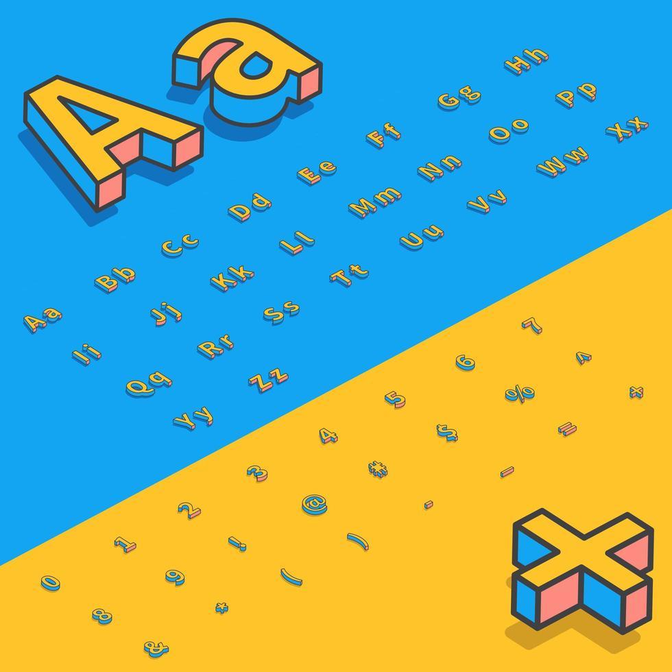 Letras de fonte estilizada isométrica 3D vetor