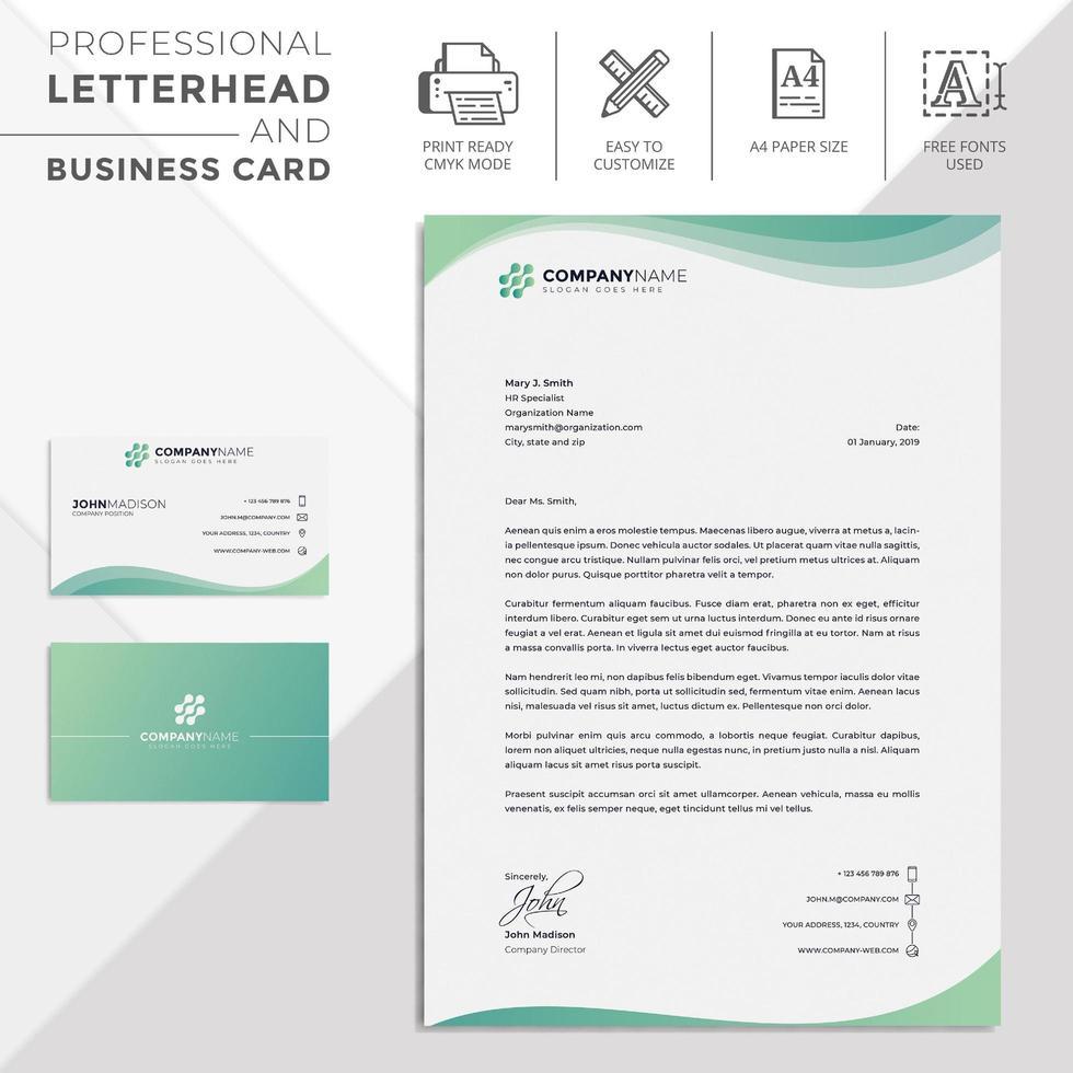 Green Wavy Modern Letterhead and Business Card vector