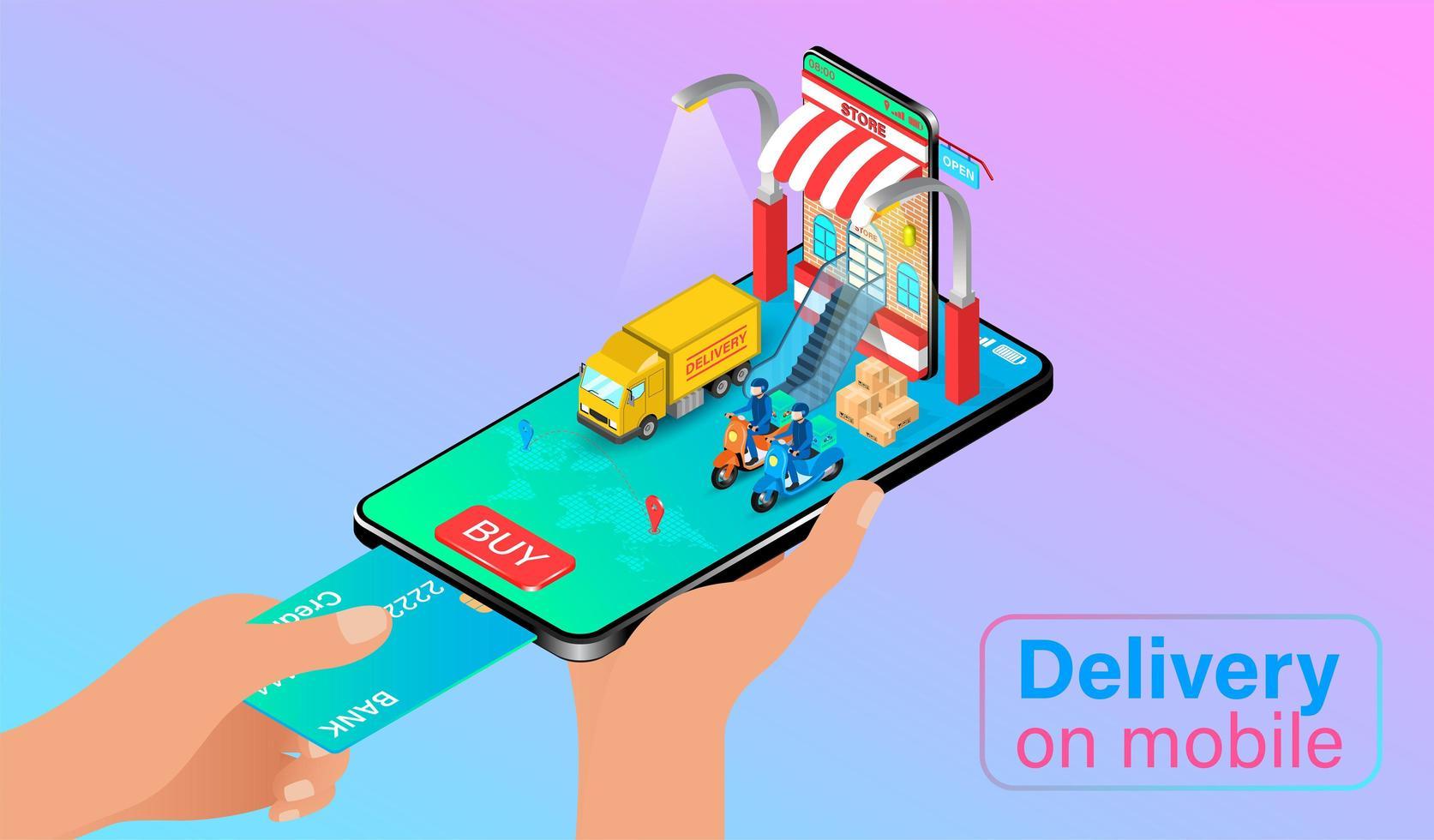 Teléfono móvil de mano para pagar la entrega vector