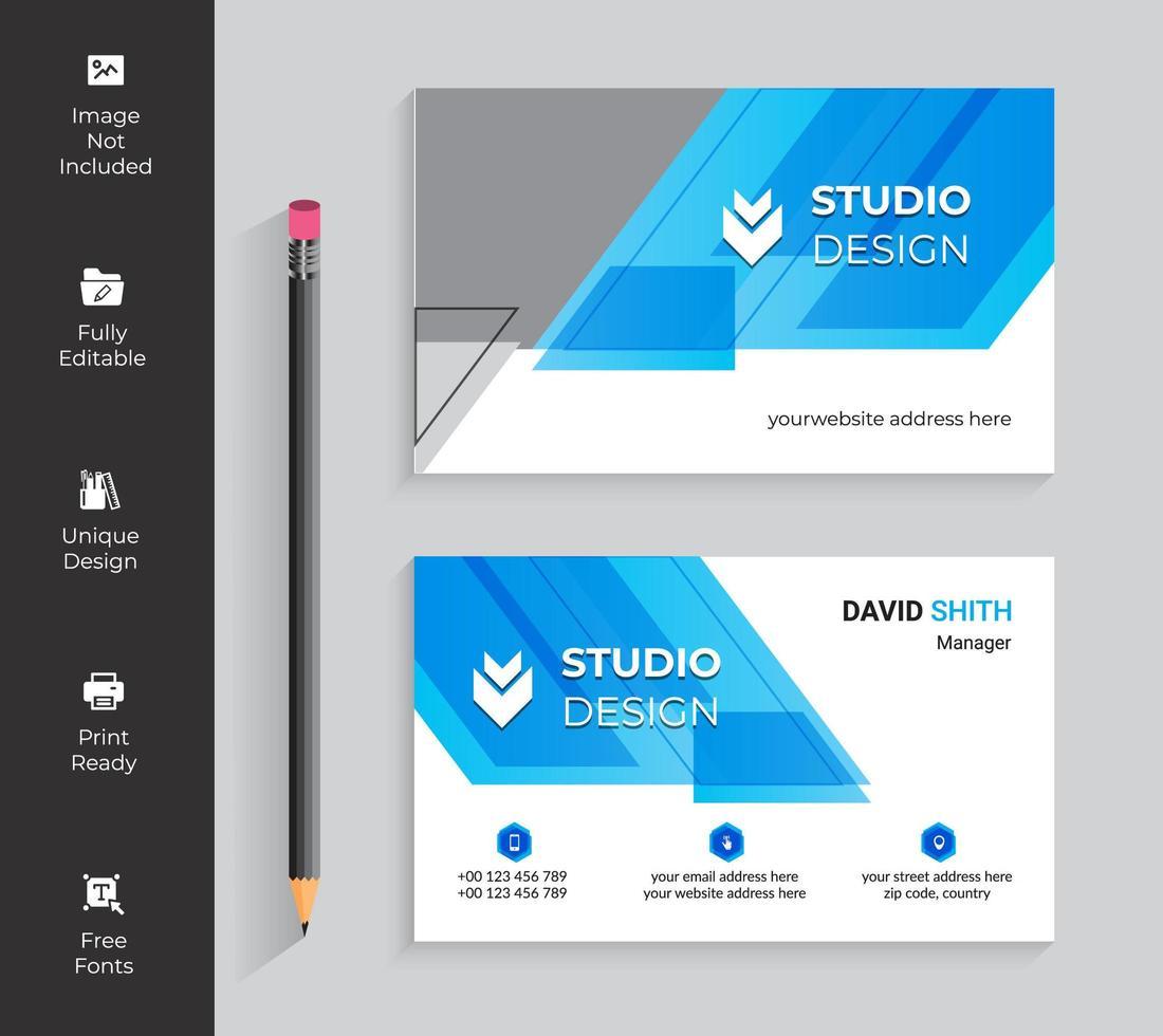 cartão de visita transparente azul dos ângulos vetor