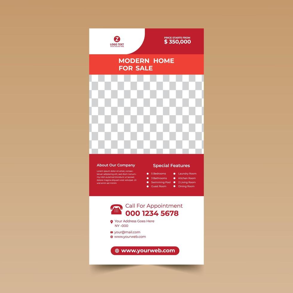 plantilla de tarjeta publicitaria roja inmobiliaria vector