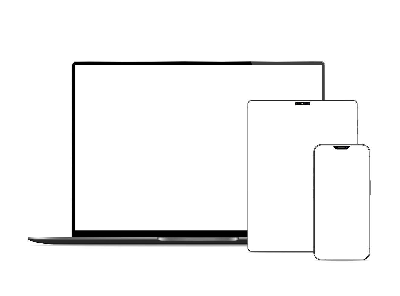 computadora portátil, tableta y teléfono con pantallas en blanco vector