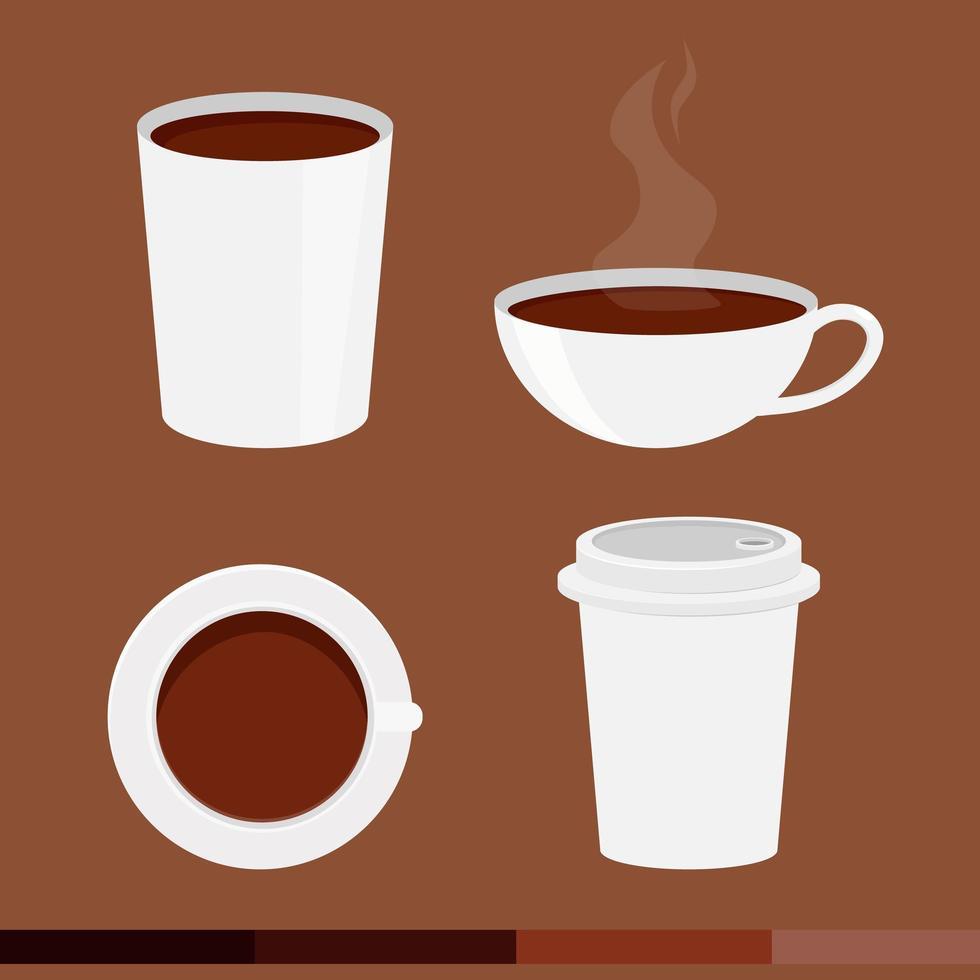 conjunto de xícara de café de estilo simples vetor