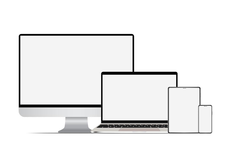 conjunto de computadora, computadora portátil, tableta y teléfono inteligente vector