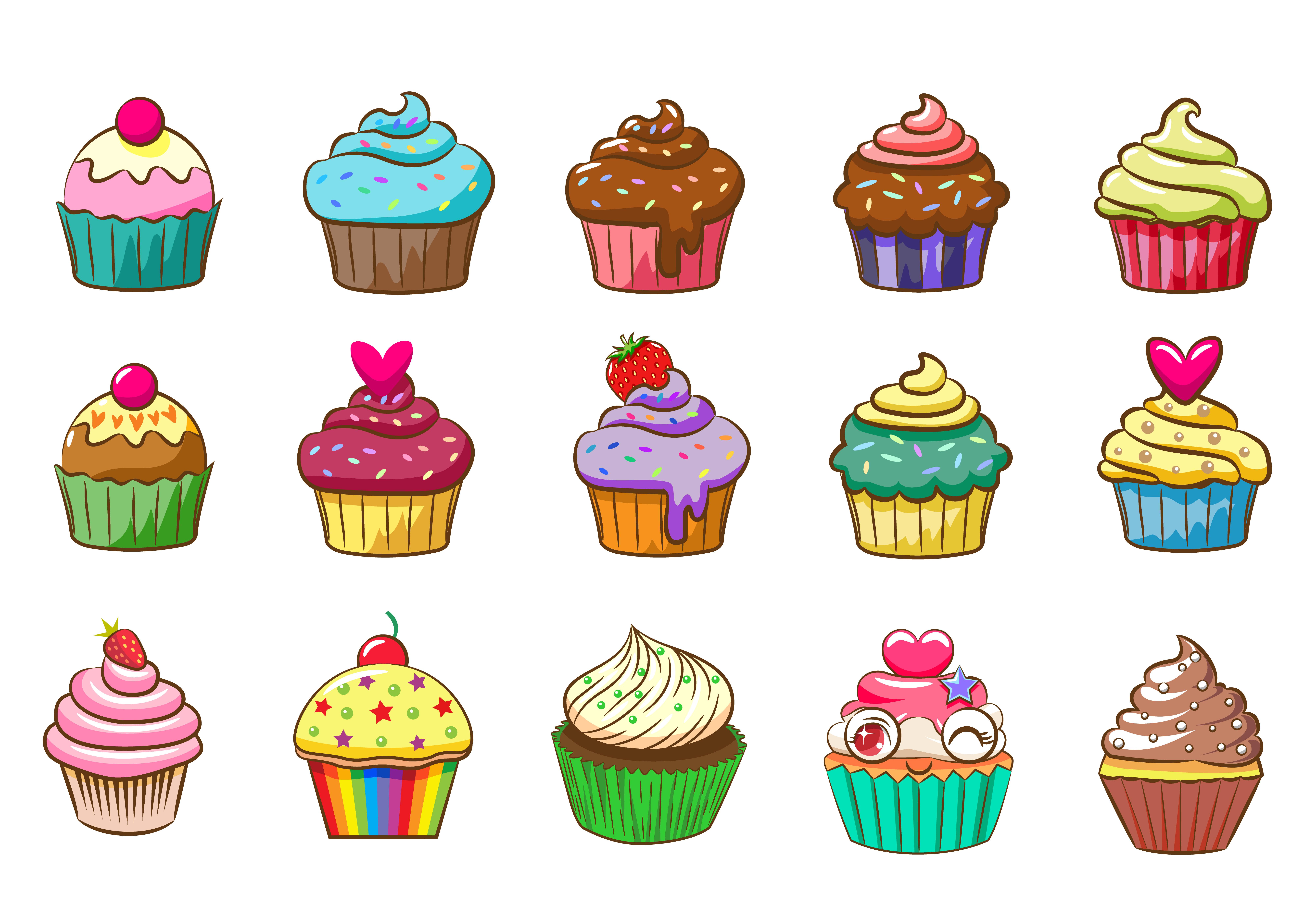 Colorful Cupcake Set - Download Free Vectors, Clipart ...