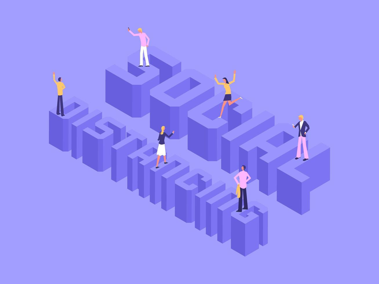 3D Isometric Social Distancing Lettering With People vector
