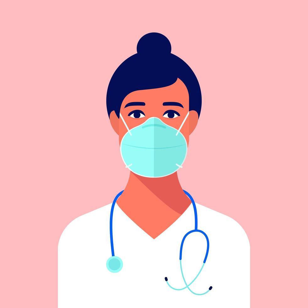portrait, de, jeune, infirmière, porter, masque médical vecteur