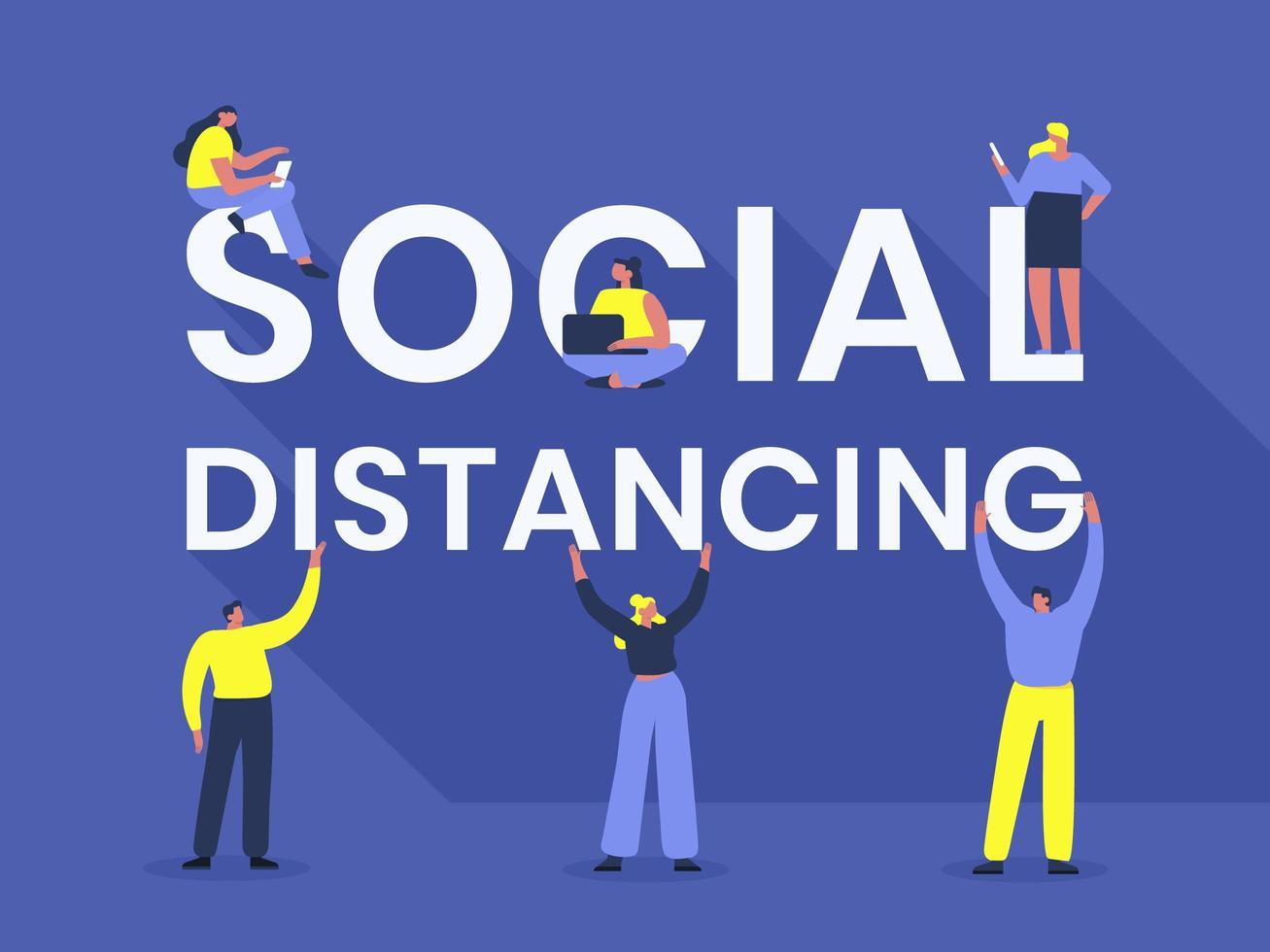 tipografía de distanciamiento social con personas vector