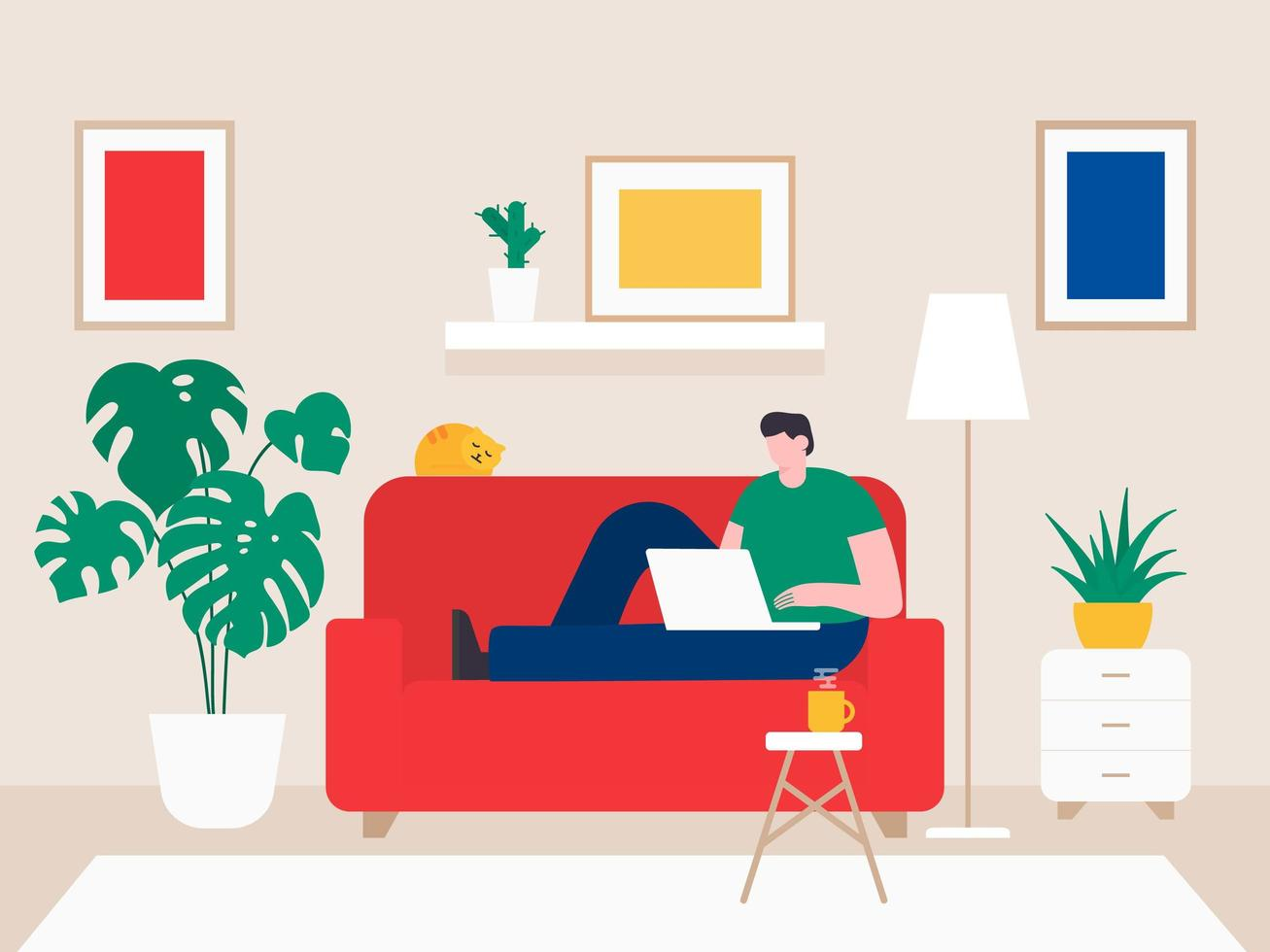Young Man Working From Home vector
