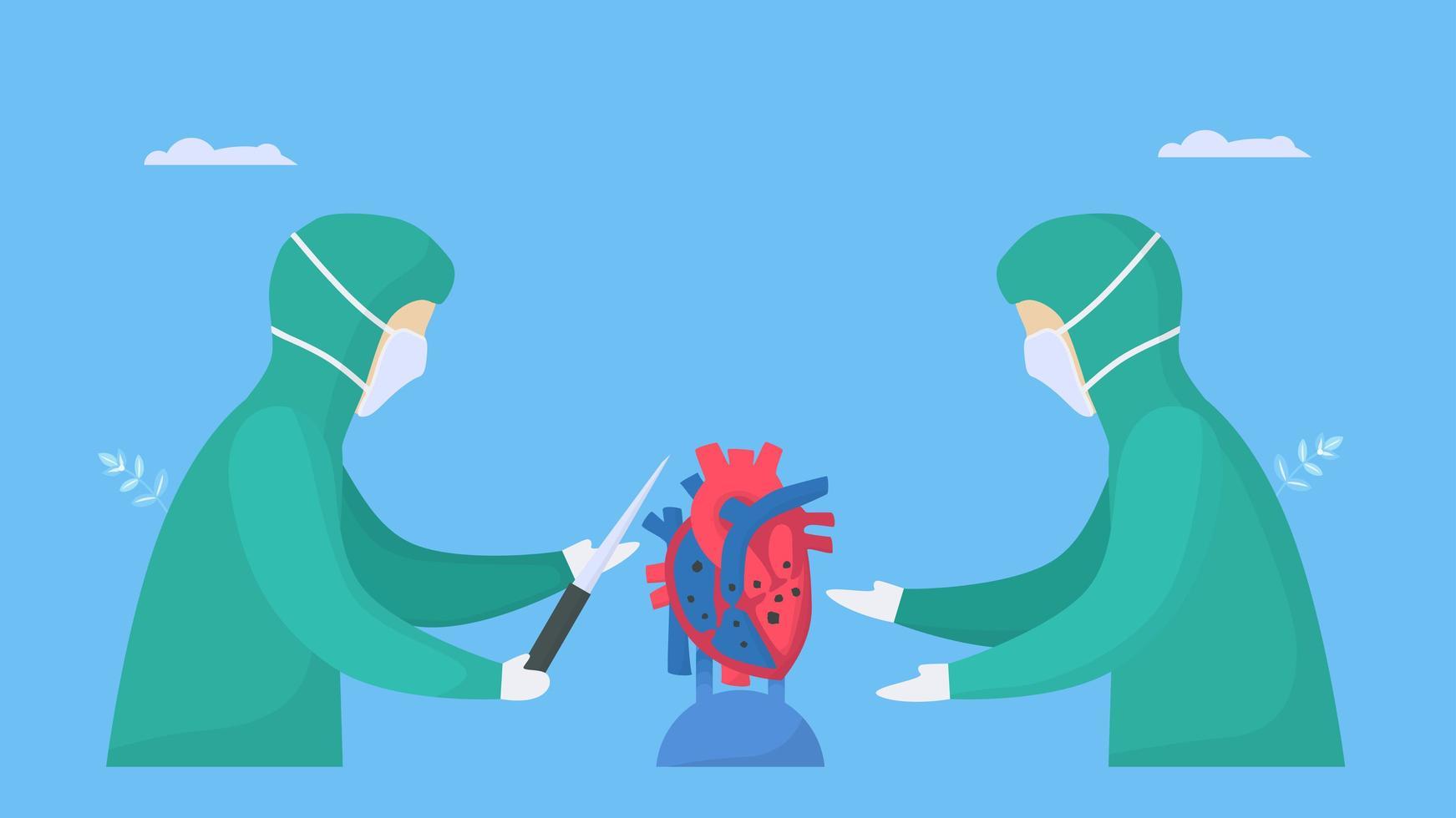 cirurgiões que operam no coração doente vetor