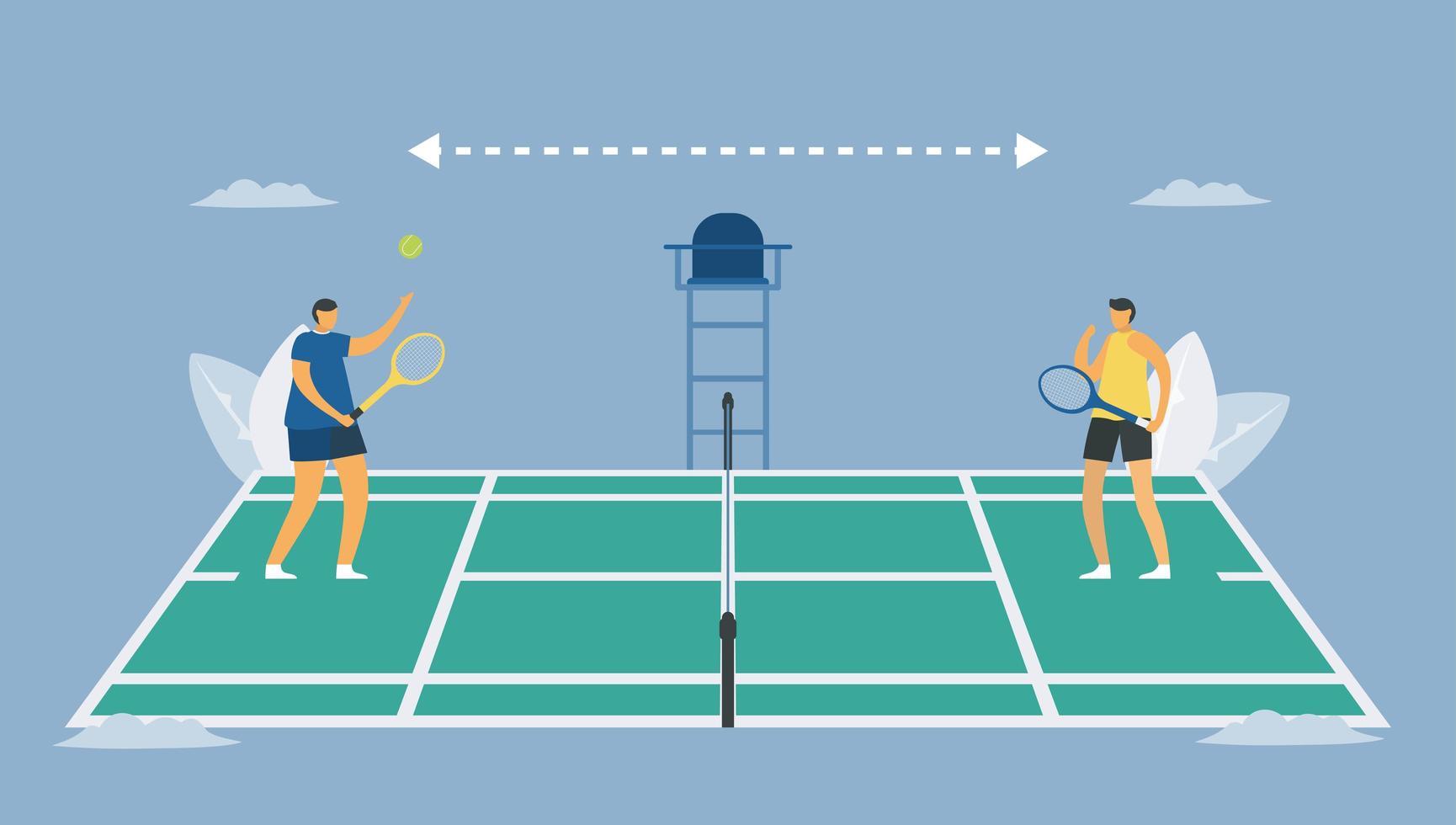distanciamiento social en el deporte del tenis. vector