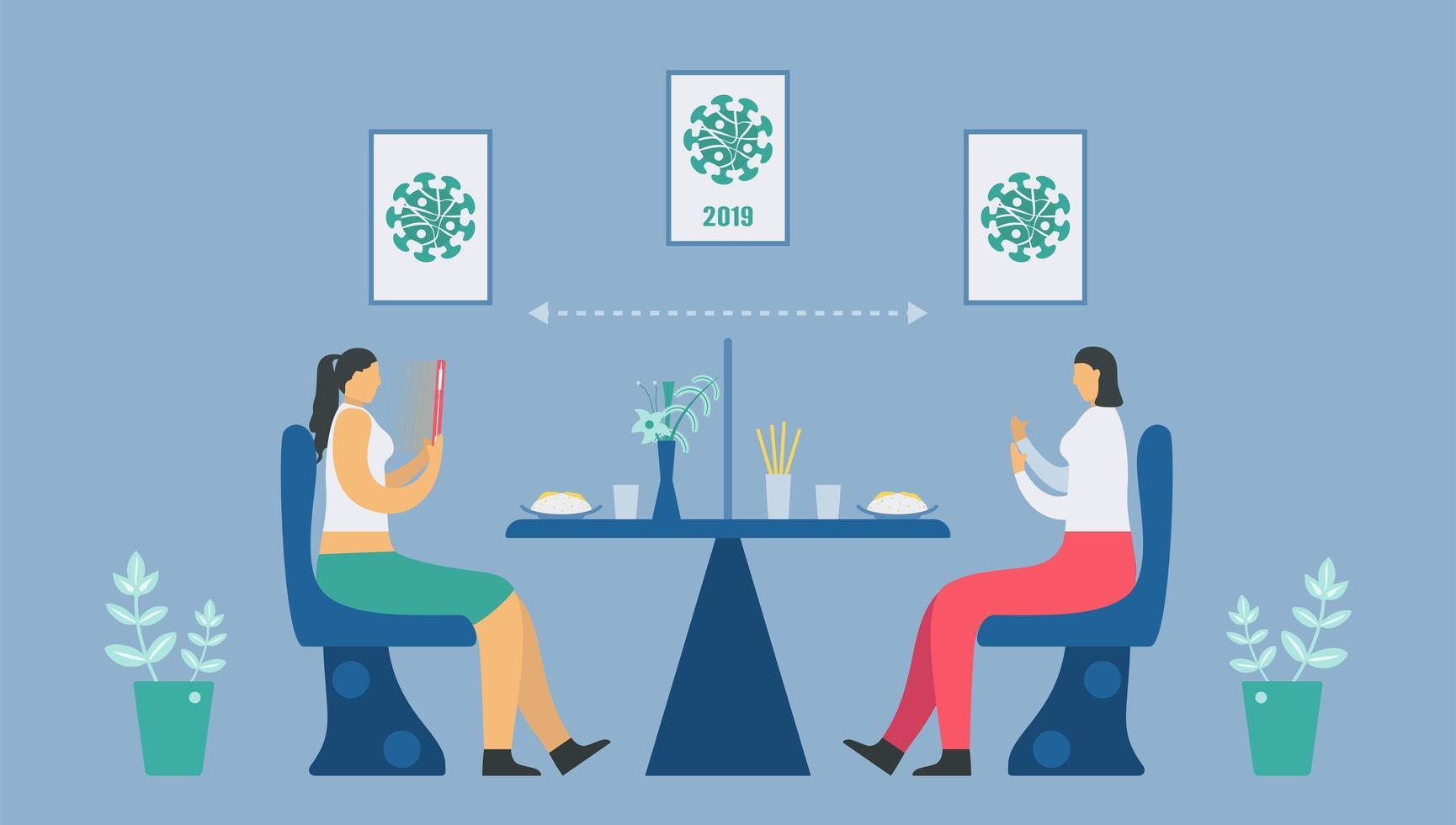 distanza sociale al ristorante vettore