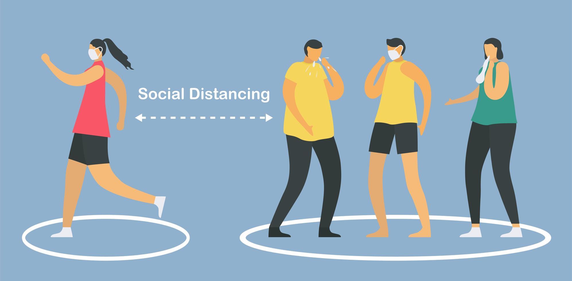 distanciamiento social con círculos límite vector