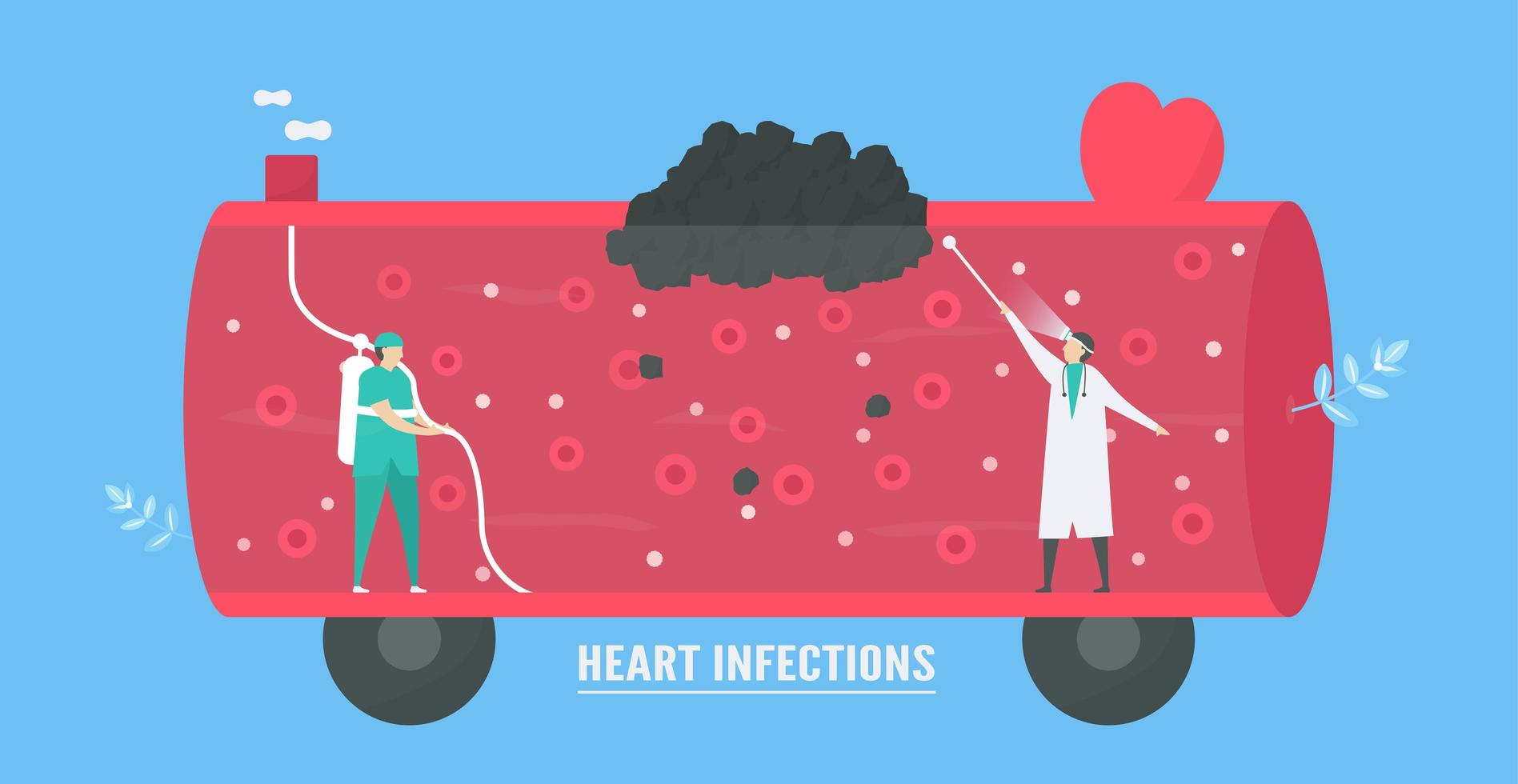 Up-close design of heart infection design vector