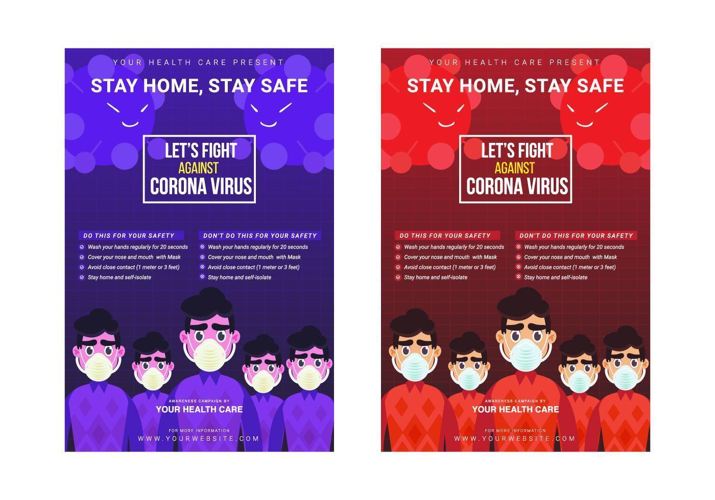Plantilla de póster de la campaña de lucha contra el virus corona vector