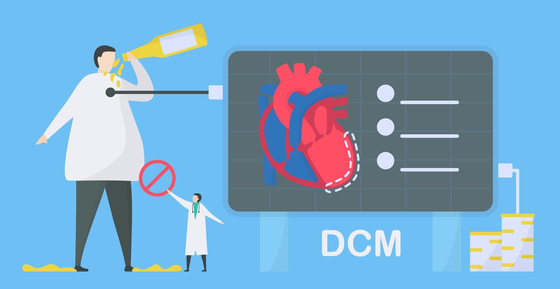 infográfico de cardiomiopatia dilatada de cardiologia vetor